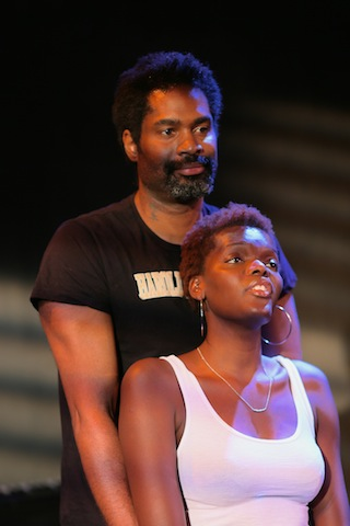 Klook's Last Stand at Park Theatre. Ako Mitchell (Klook) and Sheila Atim (Vinette). Photo credit Arnim Friess. (2)